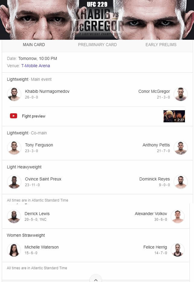 UFC 229 Khabib vs mcgregor cartelera